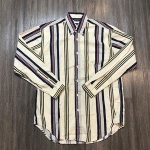 Vintage 90s Nautica Stripe Long Sleeve Dress Shirt